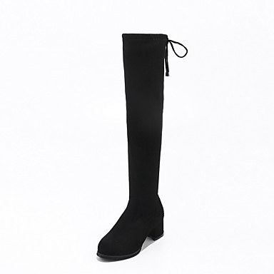 Women's Shoes Fleece Winter Fall Riding Boots Fashion Boots Boots Chunky Heel Round Toe Knee High Boots Lace-up Wedding Party &