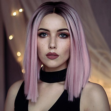 Synthetic Lace Front Wig Women's Straight Pink Synthetic Hair Middle Part Bob / Ombre Hair Pink Wig Short Lace Front Pink+Red Uniwigs