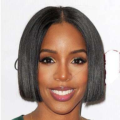 Remy Human Hair Lace Front Wig Brazilian Hair Straight Bob Haircut 180% Density Black Women Short Women's Human Hair Lace Wig