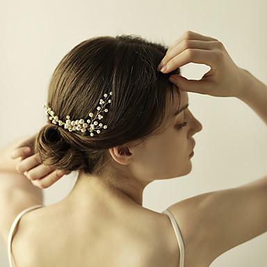 Imitação de Pérola / Strass Pentes de cabelo / Flores / Pele de cabelo com 1 Casamento / Aniversário / Festa / Noite Capacete