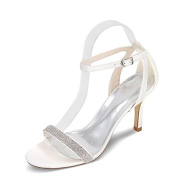 Mulheres Sapatos De Casamento Salto Agulha Dedo Aberto Pedrarias Cetim Chanel / Rasteirinhas Primavera / Verão Azul / Champanhe / Ivory / Festas & Noite