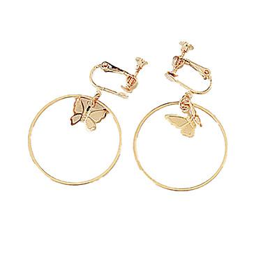 povoljno Modne naušnice-Žene Klipse Rukav leptir dame Personalized Moda Naušnice Jewelry Zlato / Pink Za Dnevno Kauzalni