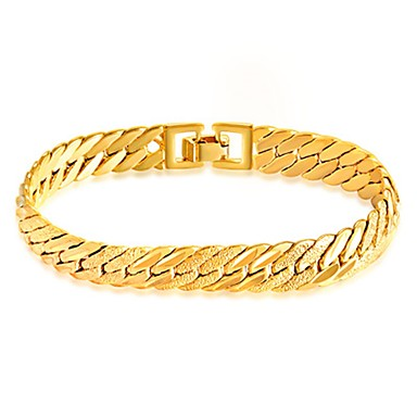 voordelige Herensieraden-Heren Armbanden met ketting en sluiting Armband Eenvoudige Stijl Modieus 18 Karaats Verguld Armband sieraden Goud Voor Dagelijks Causaal / Roestvast staal