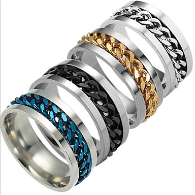 voordelige Herensieraden-Heren Bandring Zwart Zilver Donkerblauw Titanium Staal Modieus Dagelijks Sieraden