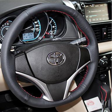 billige Interiørtilbehør til bilen-Rattovertrekk til bilen Lær 38 cm Svart / Svart / Rød Til Toyota RAV4 Alle år