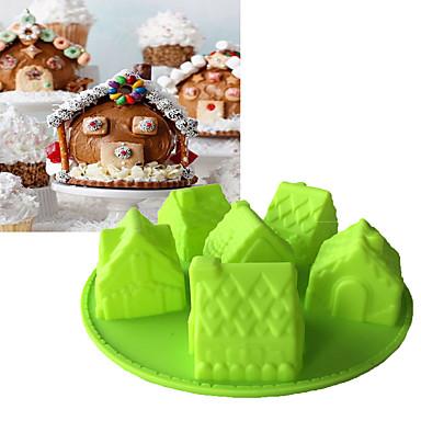 preiswerte Urlaub Angebote-weihnachten 6 hausform silikonform 3d fandont schokoladenform backformen fondantkuchenwerkzeuge
