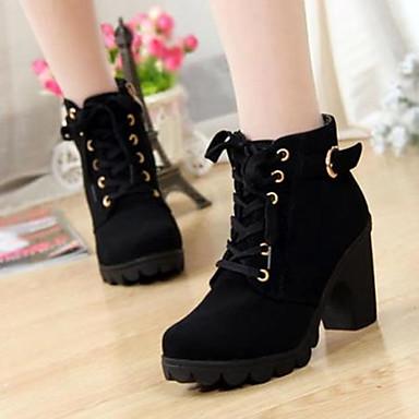 cheap Women's Boots-Women's Boots Fall / Winter Chunky Heel Round Toe Comfort Casual PU Black / Yellow / Red / EU39