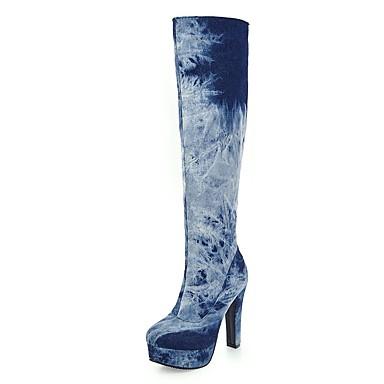 958d729be53c Women s Denim Fall   Winter Cowboy   Western Boots Boots Chunky Heel   Platform  Round Toe Knee High Boots Zipper   Gore Dark Blue   Light Blue 6241707 2019  ...