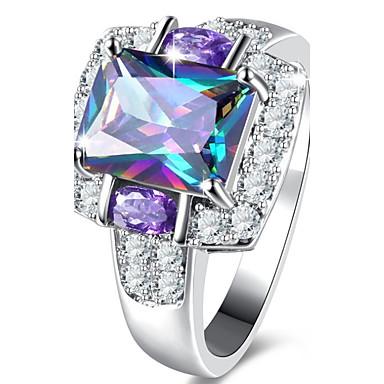 billige Engasjement-Dame Forlovelsesring Diamant Kubisk Zirkonium liten diamant Lilla Zirkonium Legering Kvadrat damer Luksus Klassisk Bryllup Fest Smykker Solitaire simulert
