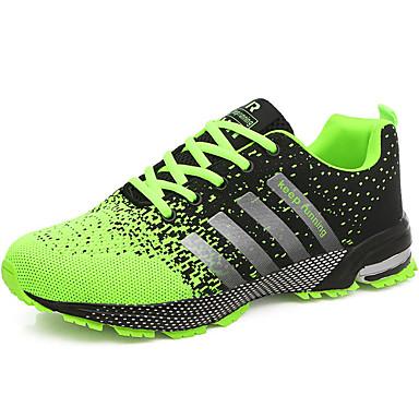 baratos Sapatos Esportivos Masculinos-Homens Sapatos Confortáveis Tule Verão / Outono Tênis Corrida Verde / Vermelho / Azul / Atlético / Cadarço