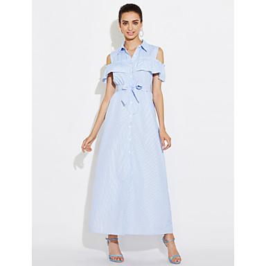 45df91a2dc03 casual wear blå stripete maxi kjole stranden bryllup kjoler våren sommeren  2017 ermeløs vest skjørt 5679681 2019 –  12.99