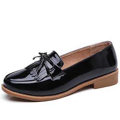Women's Shoes PU Fall Winter Comfort Loafers & Slip-Ons Flat Heel Round Toe Tassel(s) For Office & Career Black Beige Red 6242324 2018 – $24.99