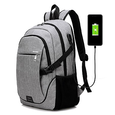 cheap Backpacks-USB Port School Bag / Commuter Backpack / Commuter Backpacks Men's PU Leather Oxford Cloth Zipper Sports / Outdoor Black / Purple / Gray