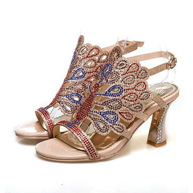 Mujer Zapatos PU Verano Confort Tacones Tacón Cuadrado Beige / Rojo / Azul iuxLbJFM