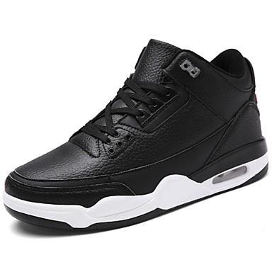 Men's Shoes PU Spring Fall Comfort Athletic Shoes Basketball Shoes Lace-up Athletic Casual Black Black/White White/Blue
