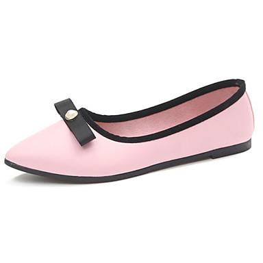 Mujer Zapatos PU Primavera Suelas con luz Bailarinas Tacón Plano Dedo Puntiagudo Negro / Beige / Rosa hiQiCdR