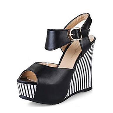 Mujer Zapatos PU Verano Confort Sandalias Tacón Cuña Puntera abierta Hebilla Blanco / Negro 65MtdqVm