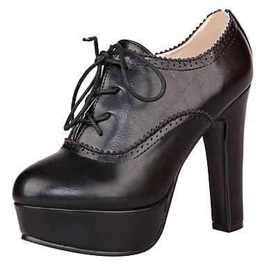 voordelige Dameslaarzen-Dames Laarzen Blokhak / Plateau Gepuntte Teen Veters PU Basispump / Modieuze laarzen Lente / Zomer Zwart / Bruin / Khaki / EU36