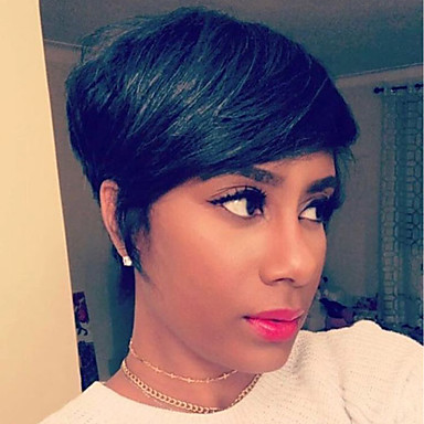 [$34.99] Human Hair Capless Wigs Human Hair Straight Short Hairstyles 2019  Halle Berry Hairstyles Side Part Short Machine Made Wig Women\'s