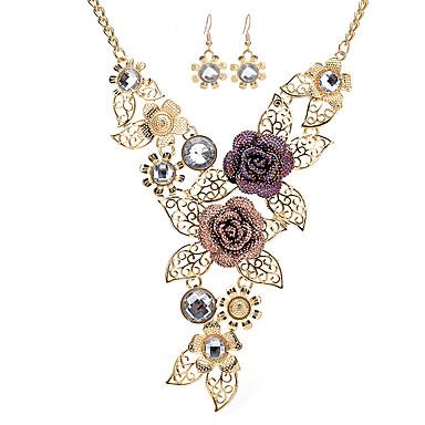 levne Dámské šperky-Dámské Prohlášení Náhrdelníky Kytky Liška Prohlášení Vintage Štras Růže pozlacená Zlatá Náhrdelníky Šperky Pro Podium Práce