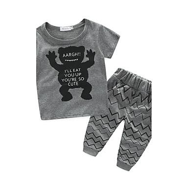 povoljno Odjeća za dječake-Dijete koje je tek prohodalo Beba Dječaci Crtići Print Kratkih rukava Pamuk Komplet odjeće Crn