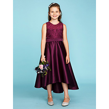 cheap Baby & Kids-Princess / A-Line Jewel Neck Asymmetrical Lace / Satin Junior Bridesmaid Dress with Sash / Ribbon / Wedding Party / See Through