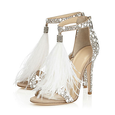 cheap Women's Sandals-Women's Sandals Furry Feather Summer Stiletto Heel Open Toe Sweet Wedding Party & Evening Rhinestone Feather Tassel Solid Colored PU Almond / EU41