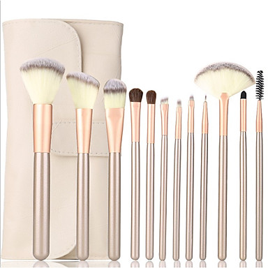 billige Kosmetikk og skjønnhetsprodukter-profesjonelle sminkebørster sett 12stk sminkesett med lærveske syntetisk hårfundament børster rødme børster kosmetiske verktøy for nybegynnere