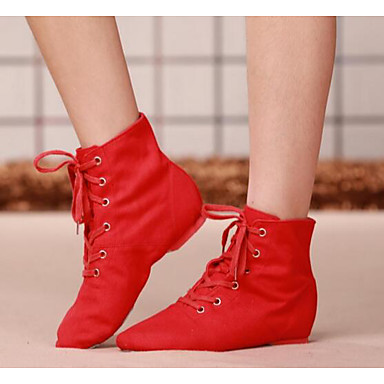 cheap Jazz Shoes-Women's Dance Shoes Canvas Flat / Heel Black / Red / Practice / EU39