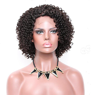 Remy Human Hair Lace Front Wig Brazilian Hair Afro Bob Haircut 150% Density 100% Hand Tied 100% Virgin African American Wig Natural