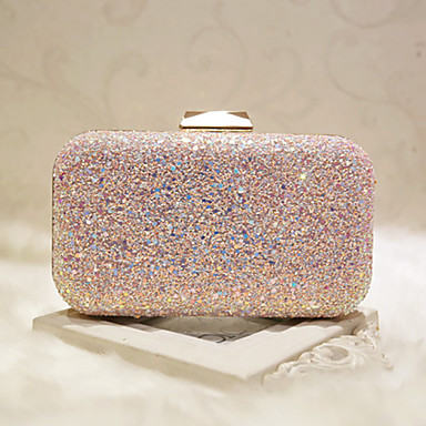 cheap Bags-Women's Sequin / Chain Faux Leather Evening Bag Evening Bag White / Blushing Pink / Wedding Bags / Wedding Bags