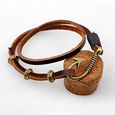 levne Dámské šperky-Pánské Dámské Kožené náramky Přizpůsobeno Vintage Kožené Náramek šperky Kávová Pro Ležérní Jdeme ven