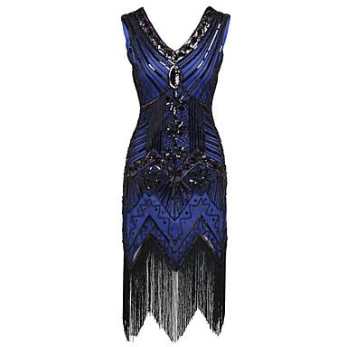 preiswerte Tanzkleider & Tanzschuhe-Latein-Tanz Kleider Damen Leistung Polyester / Pailletten Quaste / Pailetten Ärmellos Hoch Kleid