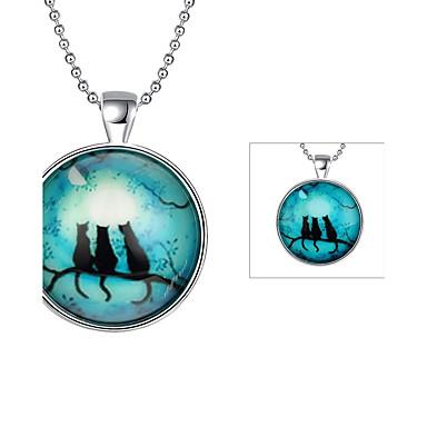 levne Pánské šperky-Pánské Náhrdelníky s přívěšky Kočka Zvíře Postříbřené Světle zelená Náhrdelníky Šperky Pro Denní