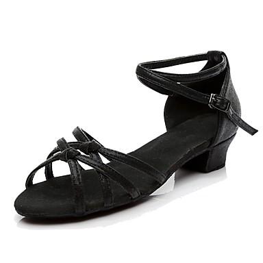 Γυναικεία Παπούτσια χορού λάτιν Συνθετικά Κούμπωμα Μπαρέτας Τακούνια Προσαρμοσμένο τακούνι Εξατομικευμένο Παπούτσια Χορού Μαύρο / Χρυσό / Ασημί / Εσωτερικό