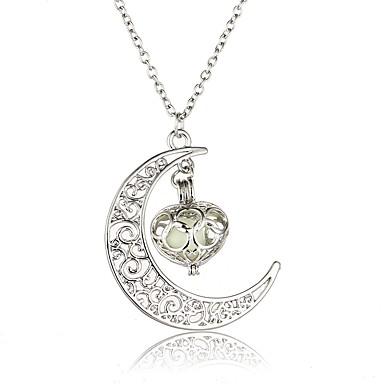 levne Dámské šperky-Pánské Dámské Světelný kámen Náhrdelníky s přívěšky Ryté Crescent Moon Prohlášení Rokové Svítící Světelný kámen Slitina Stříbrná Náhrdelníky Šperky Pro Svatební Halloween Plesová maškaráda Zásnuby