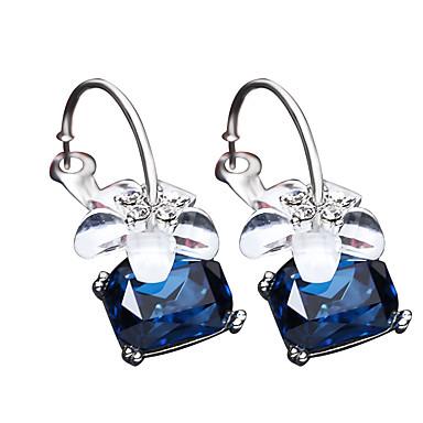povoljno Modne naušnice-Žene Sapphire Sitne naušnice Cvijet dame Moda Elegantno Naušnice Jewelry Crn / Sive boje / Plava Za Party Dnevno