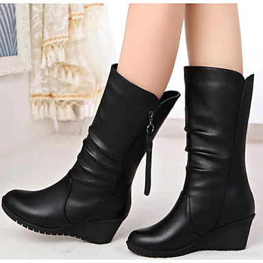 Women's Shoes Nappa Leather Fall / Winter Fashion Boots Boots Flat Heel Booties / Ankle Boots / Mid-Calf Boots Black