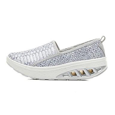 Mujer Zapatos Malla / Tela Elástica Verano Confort Zapatos de taco bajo y Slip-On Media plataforma Dedo redondo Blanco / Negro LDJ1xN0p