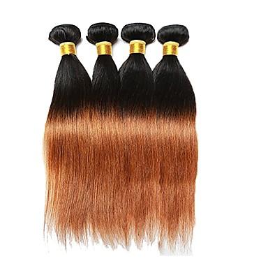 povoljno Ekstenzije za kosu-4 paketića Brazilska kosa Ravan kroj Remy kosa Isprepliće ljudske kose Proširenja ljudske kose / 10A