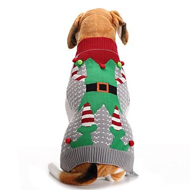 Σκύλος Πουλόβερ Χειμώνας Ρούχα για σκύλους Γκρίζο Στολές Ακρυλικές Ίνες Χριστούγεννα Χριστούγεννα XXS XS Τ M L XL