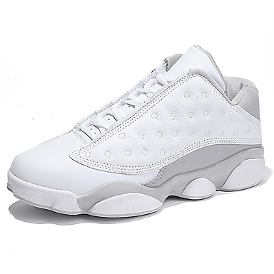 Men's Shoes Leatherette Winter Fall Comfort Athletic Shoes Basketball Shoes Lace-up Athletic Casual White
