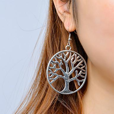 Mulheres Brincos Compridos Árvore da Vida Árvore da vida Vintage Fashion Brincos Jóias Prata Para Casual