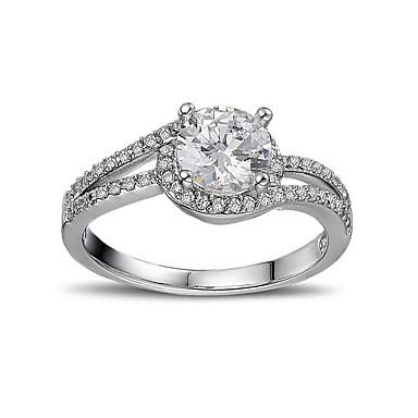 1499 Damskie Pierścionek Zaręczynowy Cyrkonia Silver Srebro Standardowe Cyrkon Zaokrąglanie Miłość Serce ślub Zaręczynowy Biżuteria