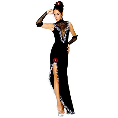 Queen Θεά Στολές Ηρώων Χορός μεταμφιεσμένων Γυναικεία Χριστούγεννα Halloween Απόκριες Γιορτές / Διακοπές Πολυ / Βαμβάκι Μαύρο Γυναικεία Αποκριάτικα Κοστούμια Συμπαγές Χρώμα Κοίλο / Γάντια