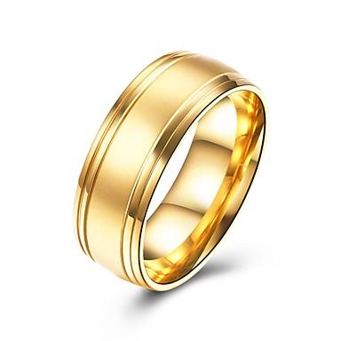 levne Pánské šperky-Pánské Band Ring Zlatá Titanová ocel Circle Shape Základní Módní Svatební Párty Šperky
