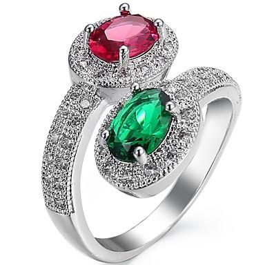 levne Dámské šperky-Dámské Boxer Zásnubní prsten obalovací kroužek Kubický zirkon drobný diamant Zelená Modrá Zirkon Měď Oválný Svatební Párty Šperky HALO dva kameny