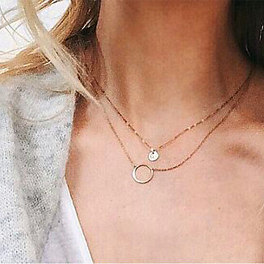 levne Dámské šperky-Dámské Obojkové náhrdelníky Řetízky Vícevrstvé Jednoduchý Vícevrstvé Slitina Zlatá Náhrdelníky Šperky Pro Denní Street