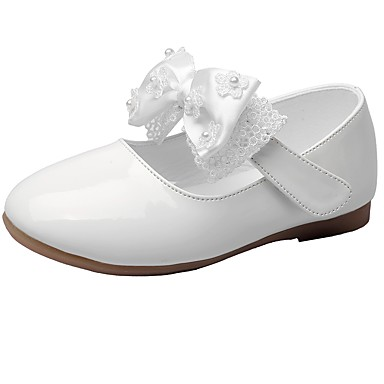 cheap Flower Girl Shoes-Girls' Comfort / Flower Girl Shoes Leatherette Flats Little Kids(4-7ys) Bowknot / Magic Tape Black / Beige / Red Spring / Fall / Wedding / Wedding / TPR (Thermoplastic Rubber)