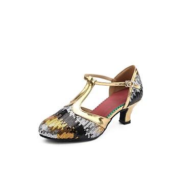 Női Modern cipők Flitter Magassarkúk Glitter   Csat Kubai sarok Dance Shoes  Arany   Kék   Professzionális 6312794 2018 –  34.99 7b7730ec8a